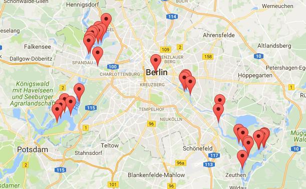 Karte 34 Inseln in Berlin Uebersicht